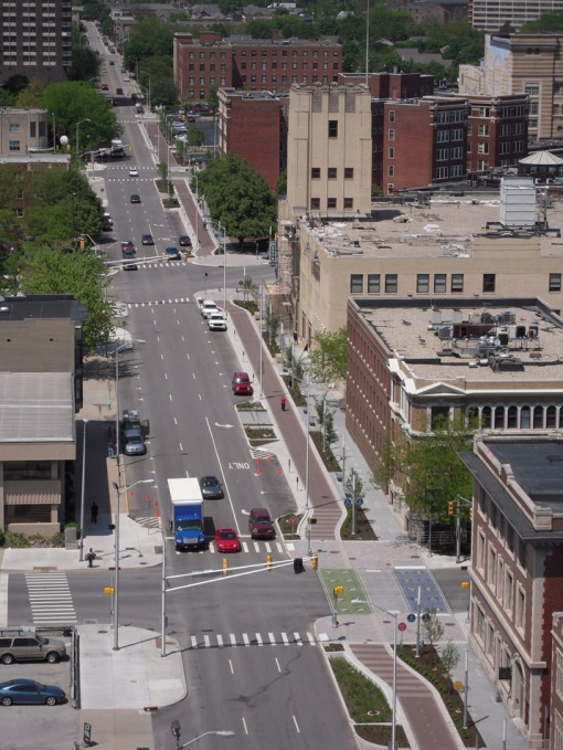 The Indianapolis Cultural Trail where great urban design helps facilitate cycling.