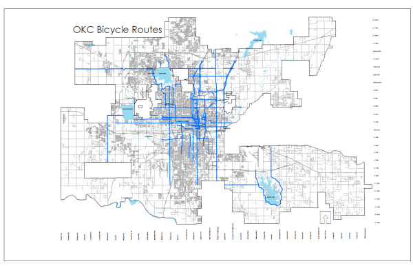 Map of the approved bike route improvements in Oklahoma City.  Image courtesy of KOCO