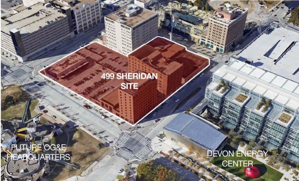 The 499 Sheridan site as it sits now.  Note the large parking structures to the north and west.